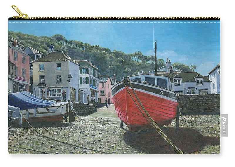 Landscape Carry-all Pouch featuring the painting The Red Boat Polperro Corwall by Richard Harpum