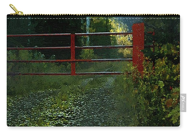 Landscape Carry-all Pouch featuring the painting The Red Gate by RC DeWinter