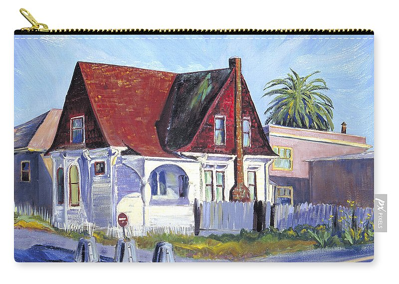 Urban Landscape Painting Carry-all Pouch featuring the painting The Red Roof House by Asha Carolyn Young