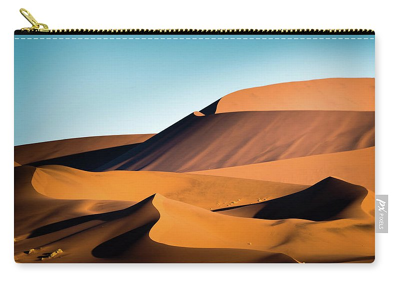 Sand Dune Carry-all Pouch featuring the photograph The Red Sand Dunes In Namibia by José Gieskes Fotografie