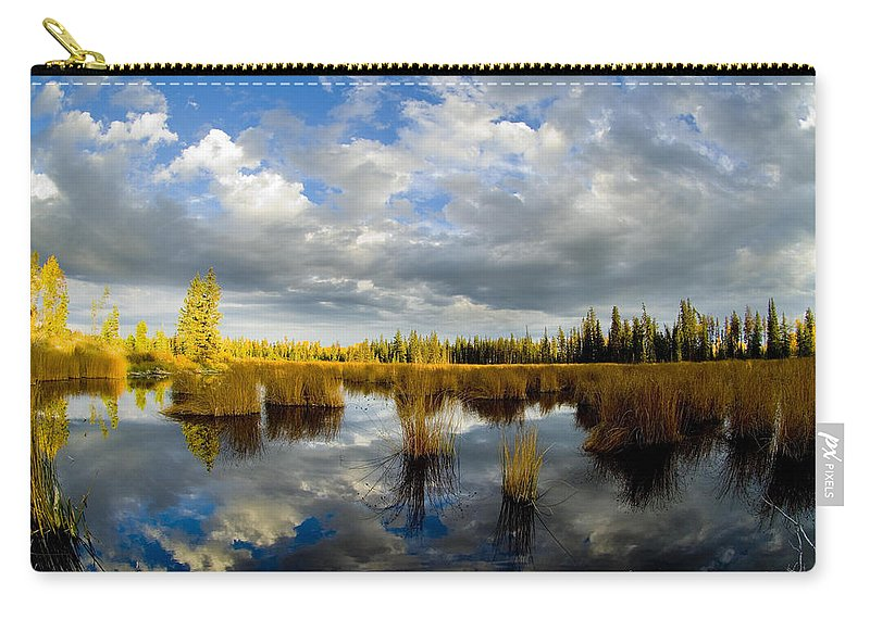 Green Lake Carry-all Pouch featuring the photograph the Reflection by Randy Giesbrecht
