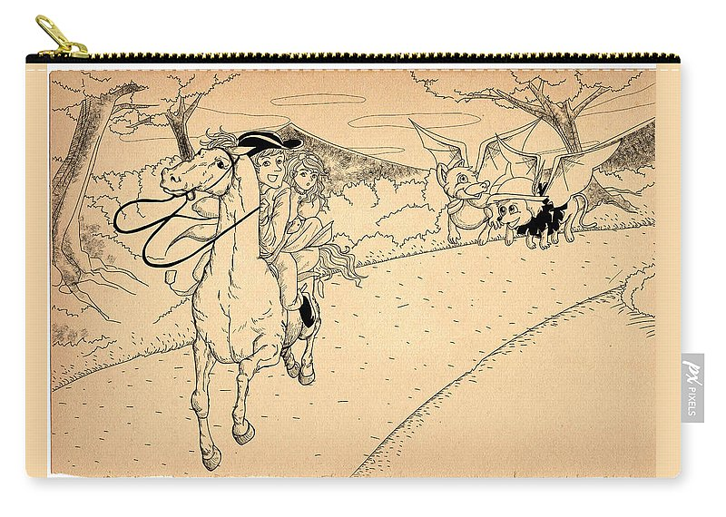 Wurtherington Carry-all Pouch featuring the drawing The Ride Of Paul Revere by Reynold Jay