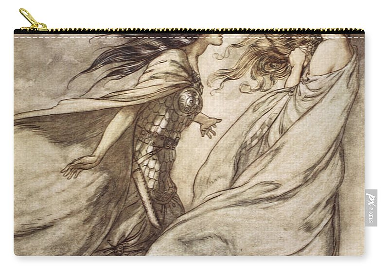 Der Ring Des Nibelungen Carry-all Pouch featuring the drawing The Ring Upon Thy Hand - ..ah by Arthur Rackham