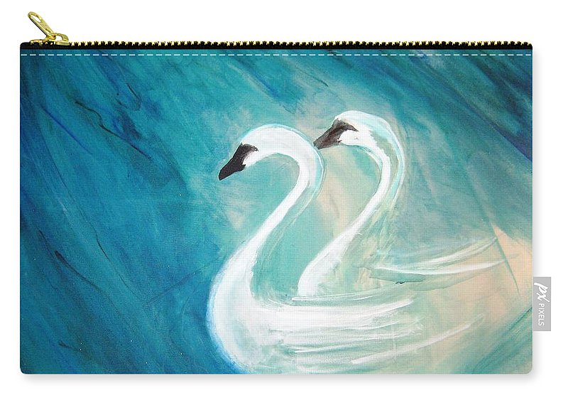 Swans Carry-all Pouch featuring the painting The River Of Swans by T Byron K