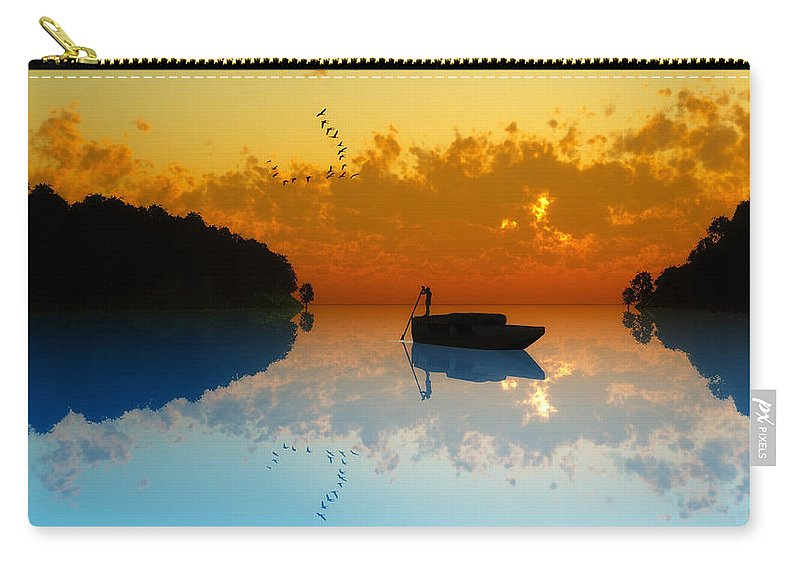Seascape Carry-all Pouch featuring the digital art The Riverboat... by Tim Fillingim