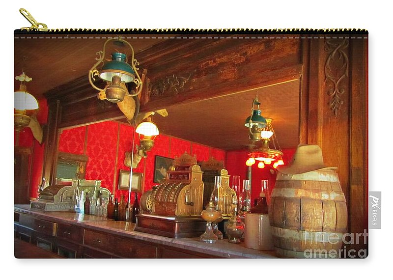 Saloon Interior Prints Carry-all Pouch featuring the photograph The Rivers Saloon by John Malone