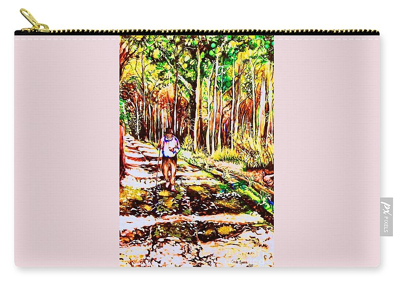 The Road Not Taken Robert Frost Poem Carry-all Pouch featuring the painting The Road Not Taken by Carole Spandau