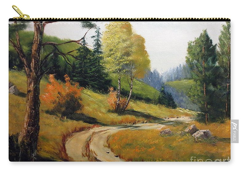 Lee Piper Carry-all Pouch featuring the painting The Road Not Taken by Lee Piper