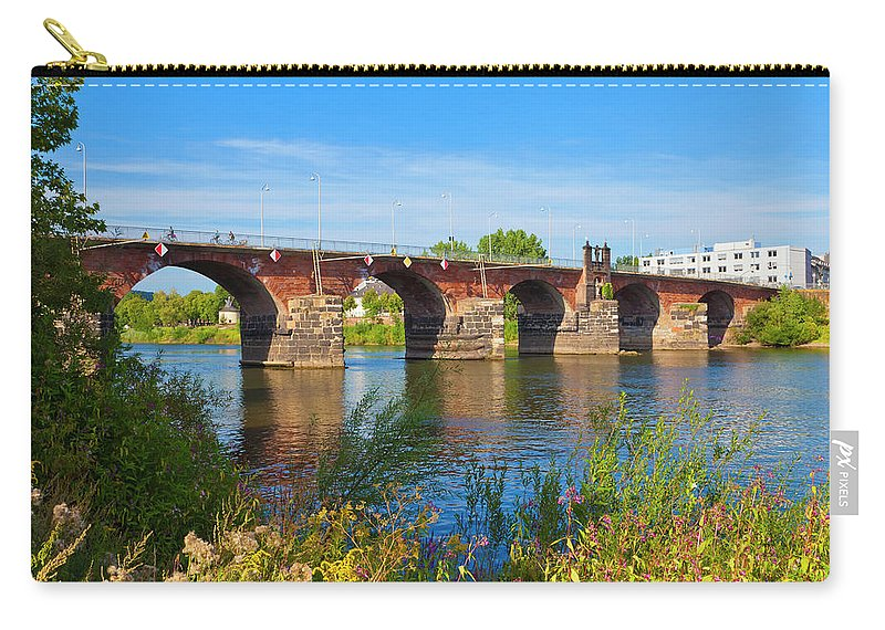 Roman Carry-all Pouch featuring the photograph The Roman Bridge Over Mosel River In by Werner Dieterich