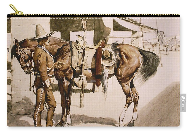 Frederic Remington Carry-all Pouch featuring the digital art The Rural Guard Mexico by Frederic Remington