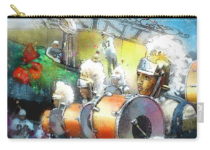 New Orleans Carry-all Pouch featuring the painting The Saints Parade In New Orleans 2010 01 by Miki De Goodaboom
