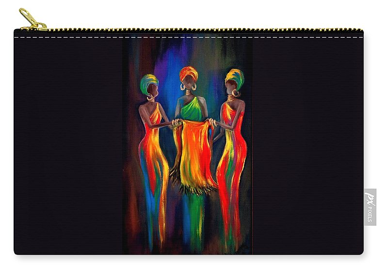 African Women Carry-all Pouch featuring the painting The Scarf by Marietjie Henning