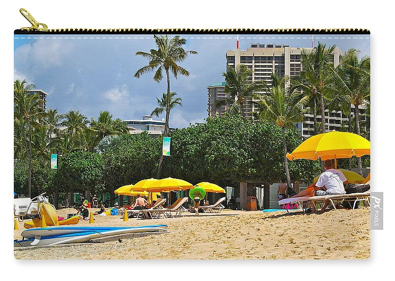 Waikiki Carry-all Pouch featuring the photograph The Scene At Waikiki Beach by Michele Myers