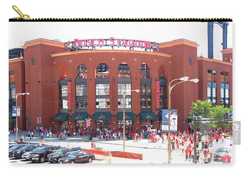 Busch Stadium Carry-all Pouch featuring the photograph The Sea Of Red Arrives by C H Apperson