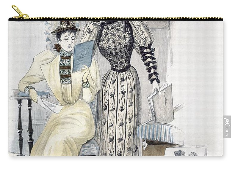 Print Carry-all Pouch featuring the drawing The Season, Fashion Plate For The by English School