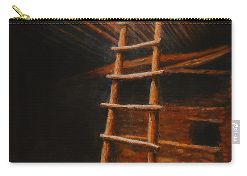 Kiva Carry-all Pouch featuring the painting The Second World by Jerry McElroy
