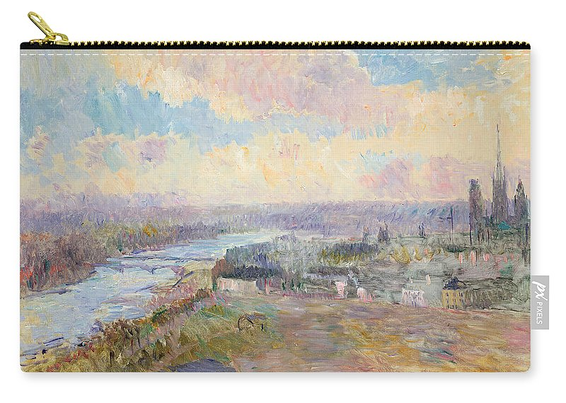 River Carry-all Pouch featuring the painting The Seine At Rouen by Albert Charles Lebourg