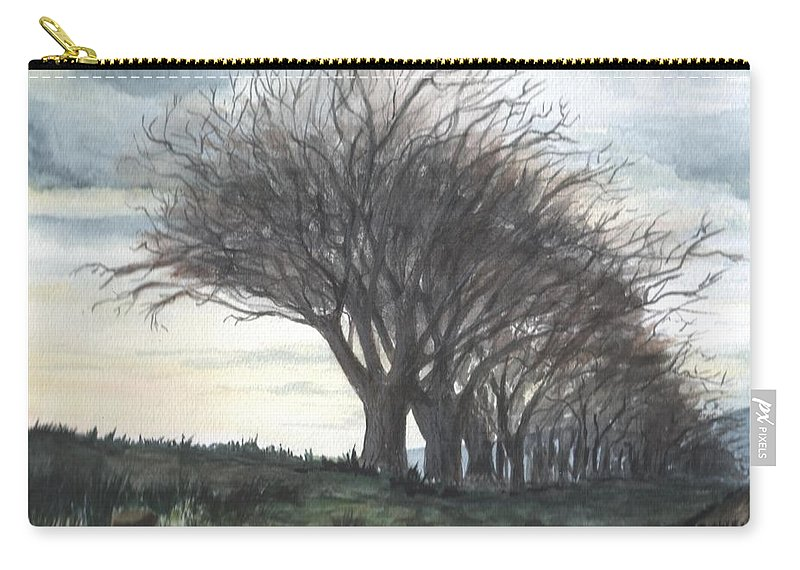 Watercolor Carry-all Pouch featuring the painting The Sentinels by Brenda Owen
