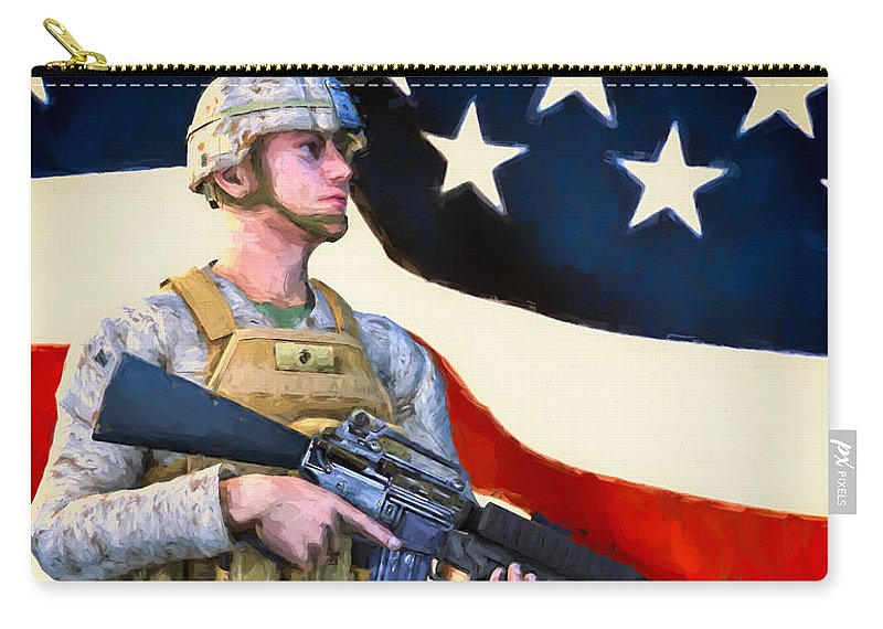 Patriotic Carry-all Pouch featuring the painting The Sentry by Bob Orsillo