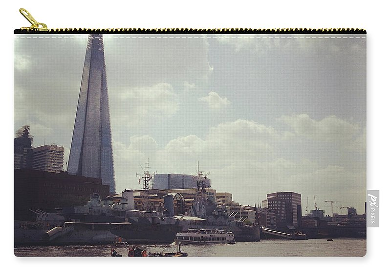 England Carry-all Pouch featuring the photograph The Shard And Thames by Denise Taylor