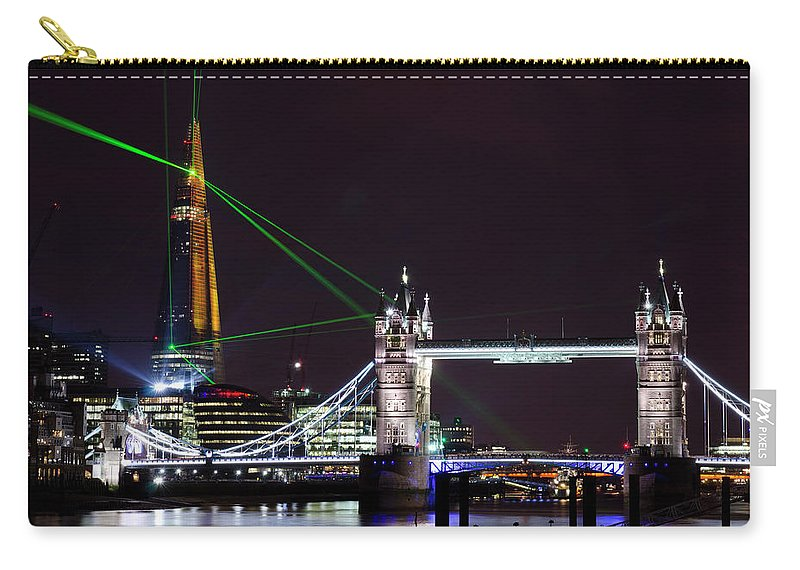 Gothic Style Carry-all Pouch featuring the photograph The Shard Skyscraper Opening Laser by Dynasoar