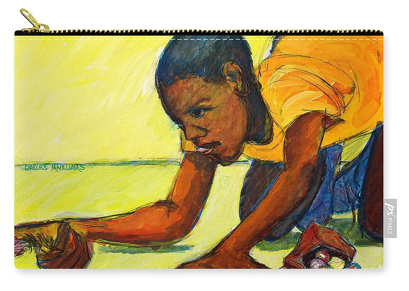 Marbles Carry-all Pouch featuring the painting The Shot by Charles M Williams