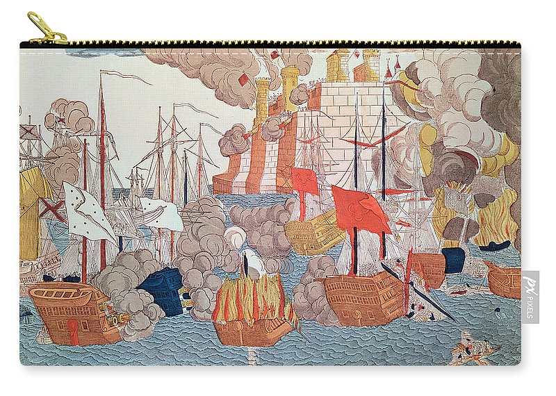 Siege Carry-all Pouch featuring the painting The Siege Of Navarino by French School