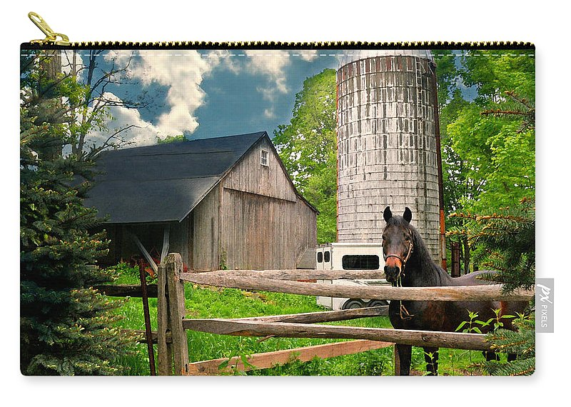 Silo Carry-all Pouch featuring the photograph The Silo Horse by Diana Angstadt