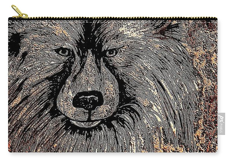 The Silver Wolf 2 Carry-all Pouch featuring the drawing The Silver Wolf 2 by Maria Urso