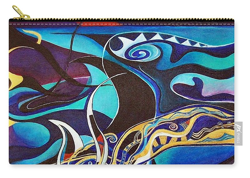 Homer Odyssey Ulysses Sirens Sea Singing Acrylic Abstract Symbolic Greek Mythology Carry-all Pouch featuring the painting the singing of the Sirens by Wolfgang Schweizer