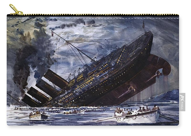 Titanic Carry-all Pouch featuring the painting The Sinking Of The Titanic by Graham Coton