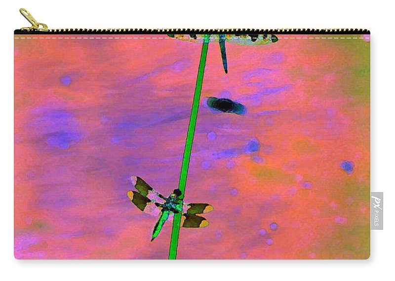 Dragonflies Carry-all Pouch featuring the photograph The Skimmer And The Whitetail Art #1 by Ben Upham III