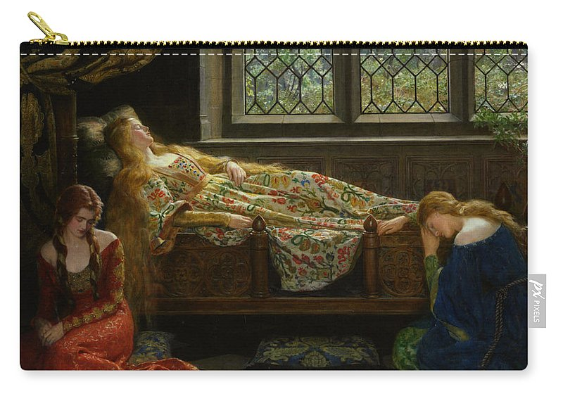 The Sleeping Beauty Carry-all Pouch featuring the digital art The Sleeping Beauty by John Collier