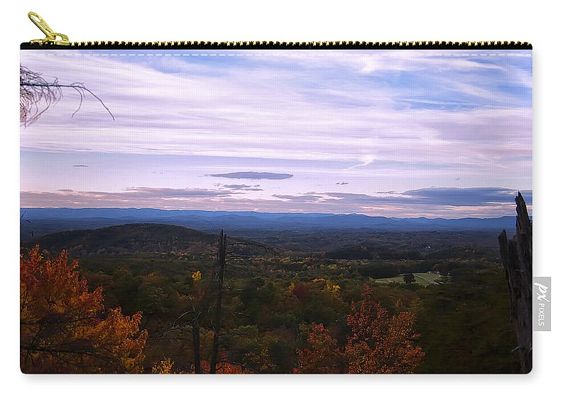 Landscape Carry-all Pouch featuring the digital art The Smokey Mountains From Hanging Rock State Park by Chris Flees