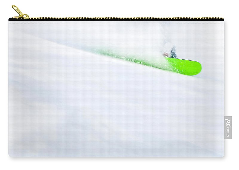 Snowboarder Carry-all Pouch featuring the photograph The Snowboarder And The Snow by Theresa Tahara