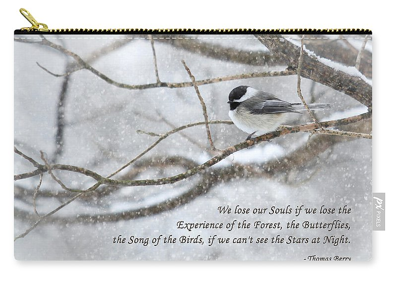 Chickadee Carry-all Pouch featuring the photograph The Song Of The Birds by Lori Deiter
