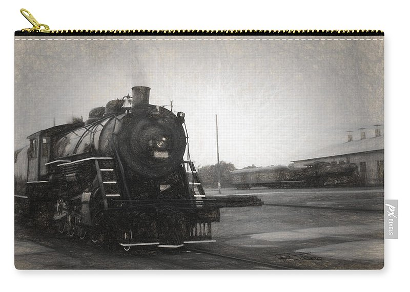 Locomotives Carry-all Pouch featuring the mixed media The Spencer Yard by Richard Rizzo