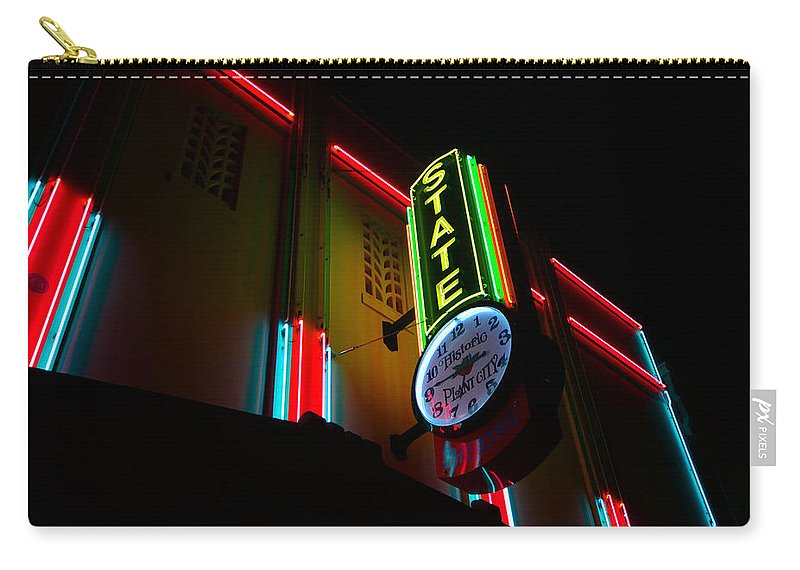 The State Theatre Plant City Florida Carry-all Pouch featuring the photograph The State In Neon by David Lee Thompson