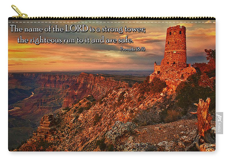 The Watchtower Carry-all Pouch featuring the photograph The Strong Tower by Priscilla Burgers