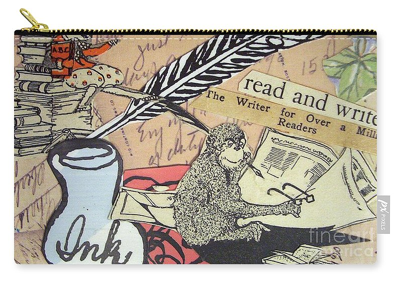 Book Carry-all Pouch featuring the drawing The Studious Rabbit And The Monkey by Eloise Schneider Mote