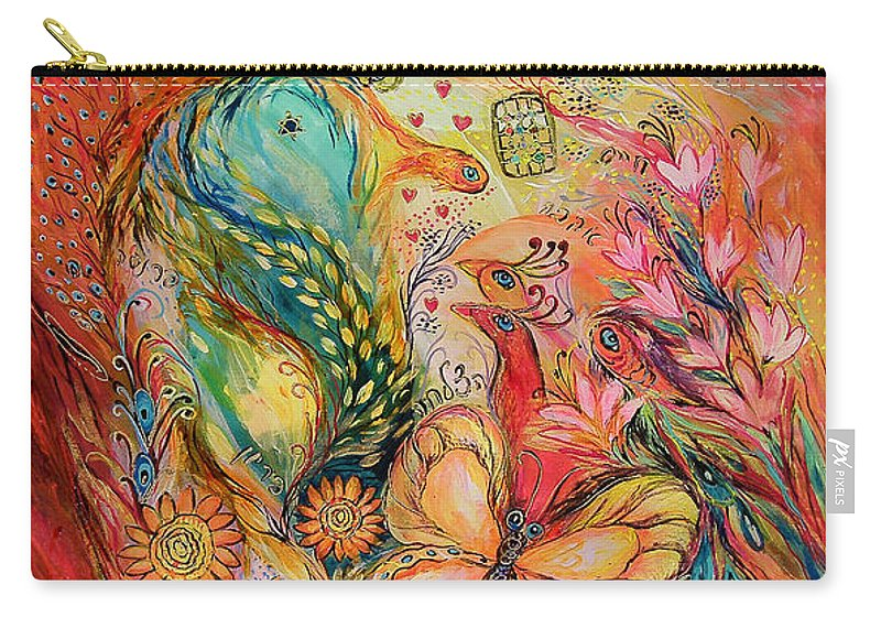 Original Carry-all Pouch featuring the painting The Sunrise In Orange Garden by Elena Kotliarker