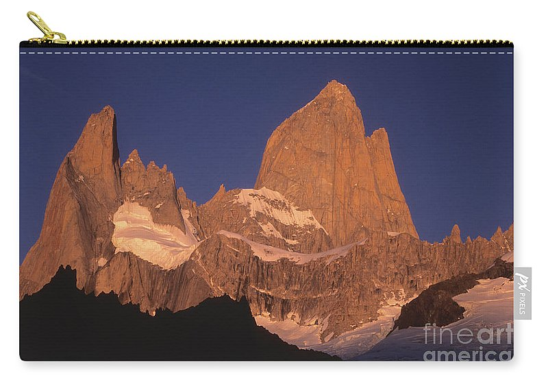 Patagonia Carry-all Pouch featuring the photograph The Sunrise Of Fire Mt Fitzroy by James Brunker