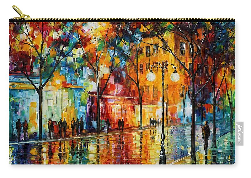 Leonid Afremov Carry-all Pouch featuring the painting The Tears Of The Fall - Palette Knife Oil Painting On Canvas By Leonid Afremov by Leonid Afremov