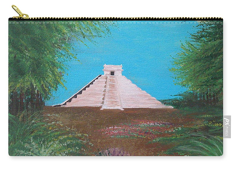 Landscape Carry-all Pouch featuring the painting The Temple Of Kukulcan by Alys Caviness-Gober