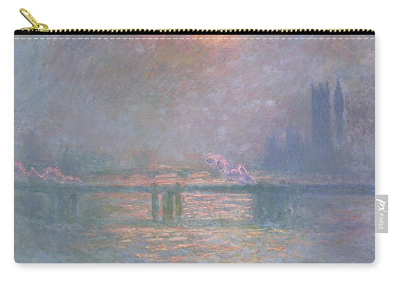 Landscape Carry-all Pouch featuring the painting The Thames With Charing Cross Bridge by Claude Monet
