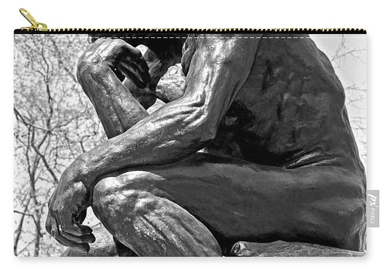 City Scenes Carry-all Pouch featuring the photograph The Thinker In Black And White by Lisa Phillips