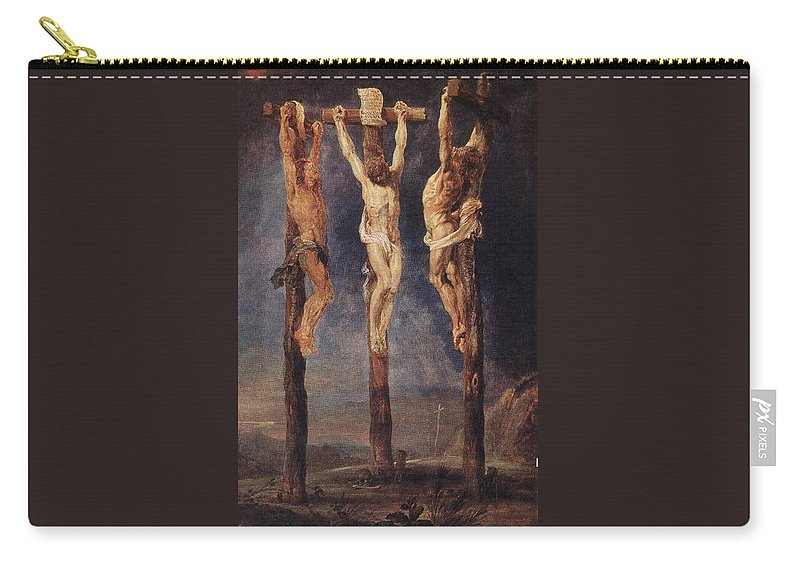 Peter Paul Rubens Carry-all Pouch featuring the digital art The Three Crosses by Peter Paul Rubens