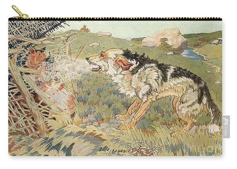 1923 Carry-all Pouch featuring the photograph The Three Little Pigs by Granger