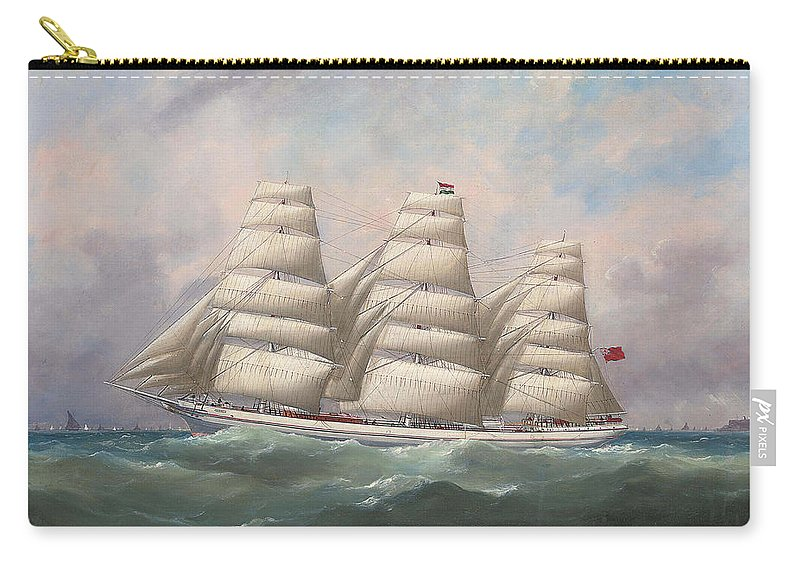Edouard Adam Carry-all Pouch featuring the painting The Three-master Hahnemann In Full Sail Off A Headland by Edouard Adam
