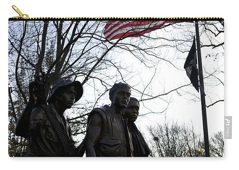 Vietnam War Memorial Carry-all Pouch featuring the photograph The Three Soldiers - Vietnam War Memorial by B Christopher